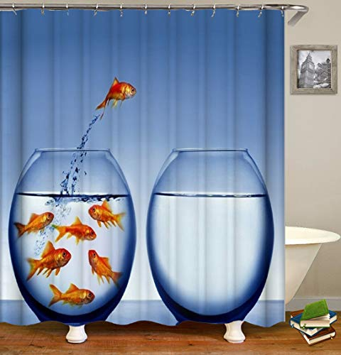 Art Tree Shower Curtain Fabric Goldfish with Hooks Bath Curtain Waterproof, 72x72 INCH