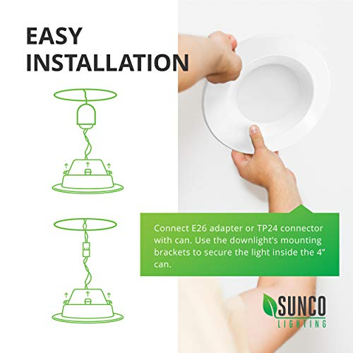 Sunco Lighting 6 Pack 4 Inch LED Recessed Downlight, Baffle Trim, Dimmable, 11W=40W, 3000K Warm White, 660 LM, Damp Rated, Simple Retrofit Installation - UL + Energy Star by Sunco Lighting (Image #5)