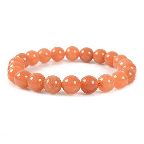 - Justinstones Natural Orange Aventurine Gemstone 8mm Round Beads Stretch Bracelet 7
