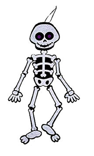 A&T Designs Friendly Skeleton Jointed Felt Wall Decoration for Halloween Party - 24 in (Whimsical, Sturdy, Posable)