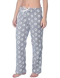 Fleece Lounge Plaid Pajama Pants For Women - Adjustable Waistband
