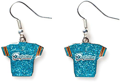 NFL Miami Dolphins Glitter Jersey Earrings (Dolphins Round Earrings)