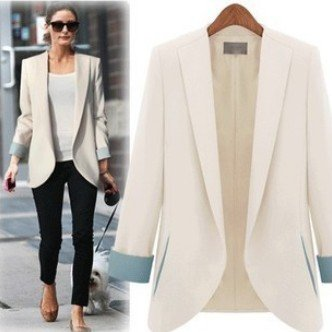 Aokin Women's Classic Chic Coloured Lapel Tailored Blazer Suit ...