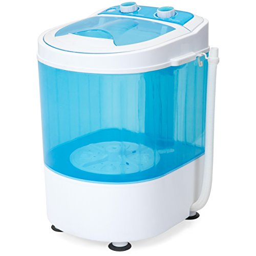 (Best Choice Products Portable Mini Washing Machine w/ Drainage Tube, 6.6lb Capacity, Blue/White)