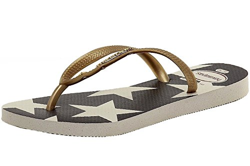 Havaianas Women's Slim Stars and Stripes Sandal White/Navy Sandal 41/42 (US Men's 9, Women's 11/11.5) M
