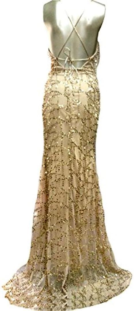 iShine Donna Sottile Vestito con Aberturas Paillettes Abito Maxi V-Collo Profondo Senza Schienale Vestiti da Sera Festa Partido