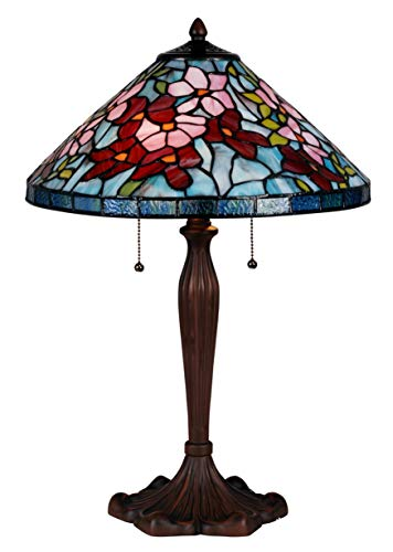 Robert Brass Table Lamp - Tiffany Style Table Lamp Stained Glass Accent Rose Blue Green Red Pink Flower Accent Decorative Antique Lighting Coffee Table Desk Bedroom Living Room Bedside Reading Night Light Colored 24 X 16 inch