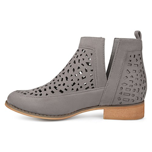 Brinley Booties Cut Laser Grey Suede Wood Geometric Split Faux Heel Stacked Co Womens Side rR7anrp