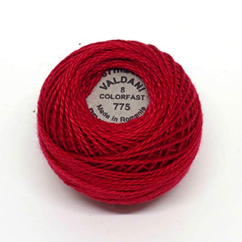 (Valdani Perle Cotton Size 8 Embroidery Thread, 72 Yard Ball - 775 Turkey Red)