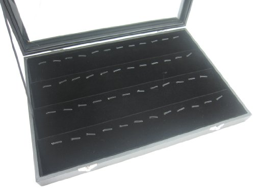 Glass Top Lid Black Velvet Jewelry Display Box for Pendants Charms, 56 Clips