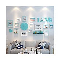 Jlcydzplic Photo Wall Love Letters with Wall Clock Creative Combination Solid Wood Photo Frame Free Punching Bedroom Living Room Home Decoration Wall Art (Color : D)