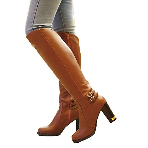 - White Island Winter High-Heeled Knee Boots Ankle Belt Buckle Side Zipper Knight Boots Size 35-43 Em9372,Brown,12