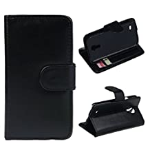 Lookatool Luxury Leather Wallet Flip Cover Case For Samsung Galaxy S4 mini i9190 (Black)