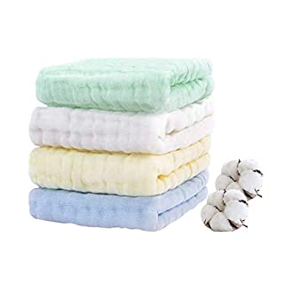 "Baby Muslin Burp-Cloths HOPAI Muslin Washcloths Natural Organic Cotton Baby Wipes Soft Newborn Baby Face Towels for Sensitive Skin 4 Pack 6 Layers 10""x20"""