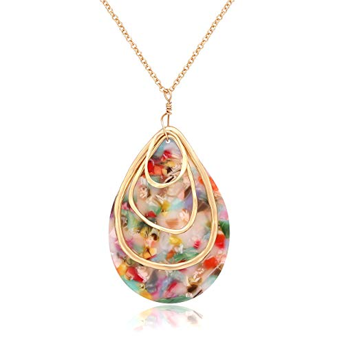 MOLOCH Long Necklace for Women Girls Geometry Teardrop Acrylic Circle Pendant Necklace Statement Boho Acetate Resin Necklace Minimalist Gift (Floral)