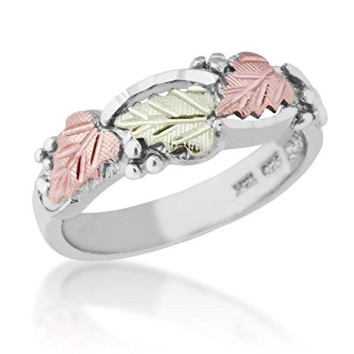 Heart Shape Grape Leaf Ring, Sterling Silver, 12k Green and Rose Gold Black Hills Gold Motif, Size 8