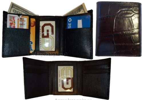 Brown Trifold Brown Leather Card Billfolds Styled 2 9 Man's Printed Crocodile Italian Wallet PxqnOFdU