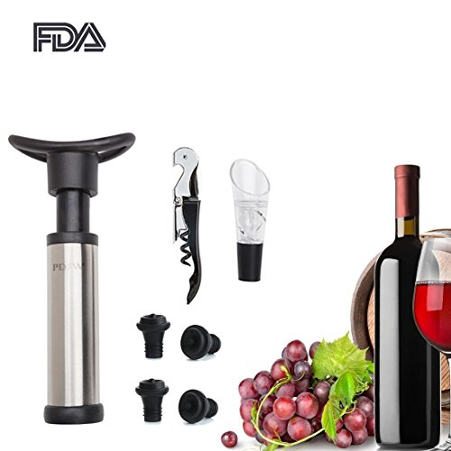 Stainless Steel Steel Bottle Stopper (Vacuum Wine Saver Pump with 4 Vacuum Bottle Stoppers,Stainless Steel Waiters Corkscrew,Wine Aerator Pourer,Packaged in a Stylish Gift Box)
