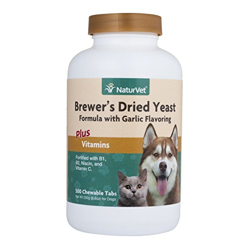 NaturVet - Brewer's Dried Yeast Formula with Garlic Flavoring - Plus Vitamins | Supports Healthy Skin & Glossy Coat | Fortified with B-1, B-2, Niacin & Vitamin C | For Dogs & Cats | 500 Chewable Table