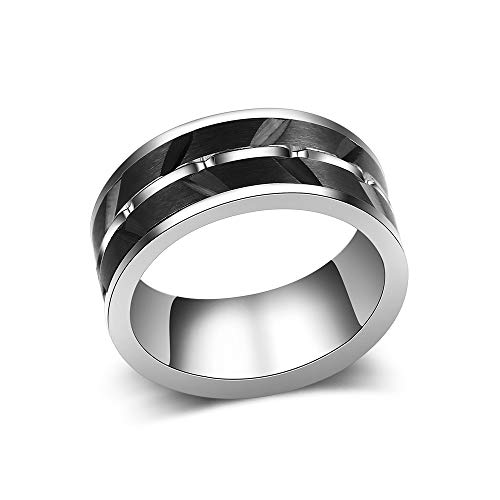 dnswez Black Stainless Steel Ring Fidget Spinner Anxiety Width 0.3 inch Band Rings for Women Men