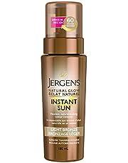 Jergens Natural Glow Instant Sun Sunless Tanning Mousse, Light Bronze, 180 mL