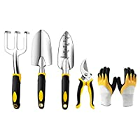 Garden Tool Set, 4 Piece Heavy Duty Gardening Tools Kit + 1 Pair of Gardening Gloves, Aluminum Alloy Outdoor Hand Tools with Soft Rubberized Non-Slip Ergonomic Handle, Garden Gifts for Men and Women