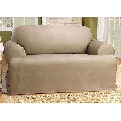 Duck Loveseat Slipcover (Sure Fit Duck Solid T-Cushion - Loveseat Slipcover  - Linen (SF28613))