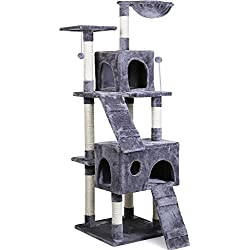 "PAWZ Road 68"" Cat Tree Kitten Activity Tower Condo Stand with Deluxe Scratching Posts, Natural Sisals Hammock Grey"