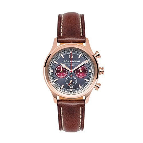 Ladies Watches Jack Mason Women's Nautical Chronograph watch with Dark brown leather strap