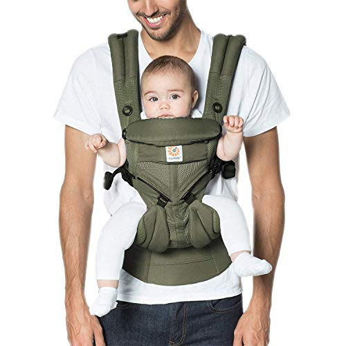 (Ergobaby Carrier, Omni 360 All Carry Positions Baby Carrier with Cool Air Mesh, Khaki Green)