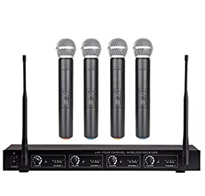 bolymic bl3400 4 channel wireless microphone system uhf 4 handheld mike microphone. Black Bedroom Furniture Sets. Home Design Ideas