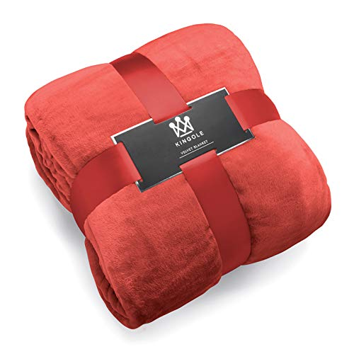 (Kingole Flannel Fleece Microfiber Throw Blanket, Luxury Coral Queen Size Lightweight Cozy Couch Bed Super Soft and Warm Plush Solid Color 350GSM (90 x 90 inches))