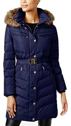 - MICHAEL Michael Kors Faux-Fur-Trim Belted Hooded Puffer Down Coat Navy (S)