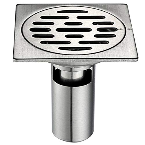 Polymer Sink Hole Covers - HATHOR-23 Square Shower Floor Drain Deodorant Kitchen Bathroom Floor Drain - Brushed Stainless Steel - 4