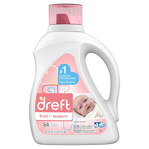 Dreft Stage 1: Newborn Hypoallergenic Liquid Baby Laundry Detergent (HE), Natural for Baby, Newborn, or Infant, 100 Ounces (64 loads) (Packaging May - Detergent Baby