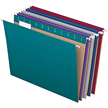Pendaflex Recycled Hanging File Folders, Letter Size, Assorted Jewel-Tone Colors, Two-Tone for Foolproof Filing, 1/5-Cut Tabs, 25 Per Box (81667)