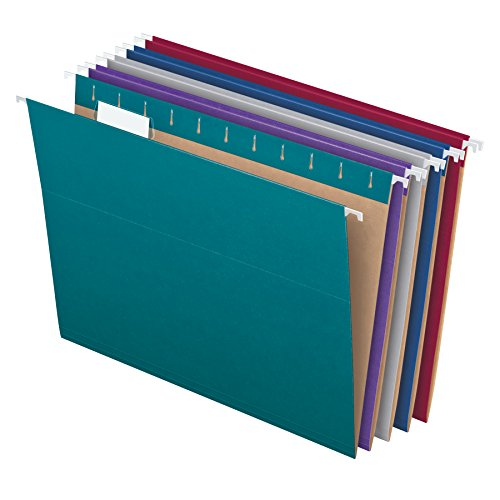 (Pendaflex Recycled Hanging File Folders, Letter Size, Assorted Jewel-Tone Colors, Two-Tone for Foolproof Filing, 1/5-Cut Tabs, 25 Per Box)