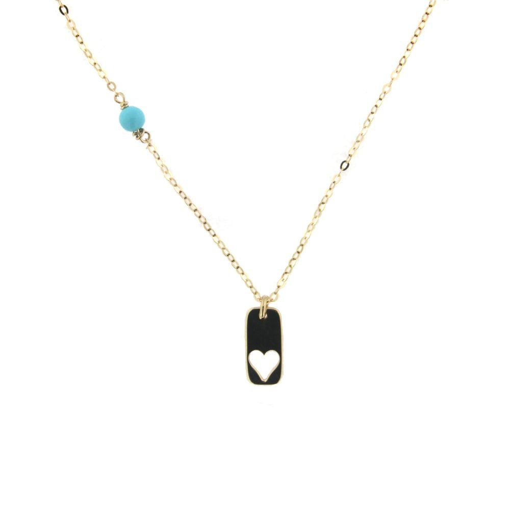18K Yellow Gold Fix Turquoise Paste Bead with Small Open Heart Plaque L 16 inches