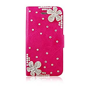 Flower Zircon PU Leather Full Body Case for iPhone 4/4S(Assorted Color) --- COLOR:Pink