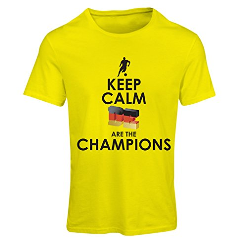 Ladies T-Shirt Germans are The Champions - Russia Championship 2018, World Cup Soccer Team of Germany Fan Shirt (Medium Yellow Multi Color)