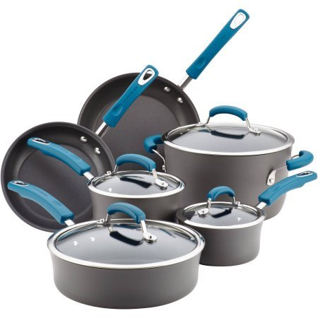 Rachael Ray Hard-Anodized Aluminum Nonstick Cookware Set, 10-Piece, Gray with Marine Blue Handles ()