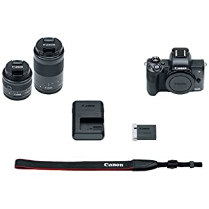 Canon EOS M50 Mirrorless Camera Body and EF-M15-45mm + EF-M 55-200mm Lenses and with Dual Pixel CMOS AF and 4K Video – Black