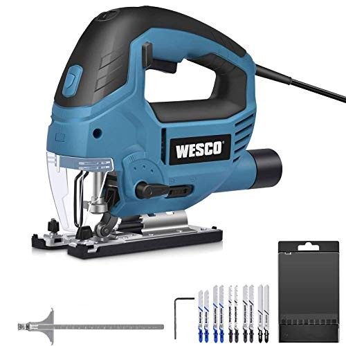 Jigsaw 850W, Electric Jigsaw & LED, 3000SPM, 6-Speed preselection, 10 Blades, 4 Position Orbital Action, Cutting Angle…
