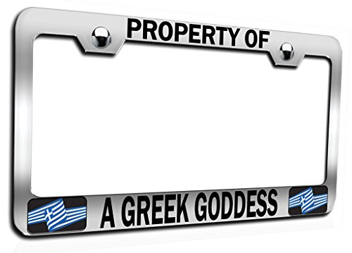 (Makoroni - PROPERTY OF A GREEK GODDESS Ch Steel Auto SUV License Plate Frame, License Tag Holder)