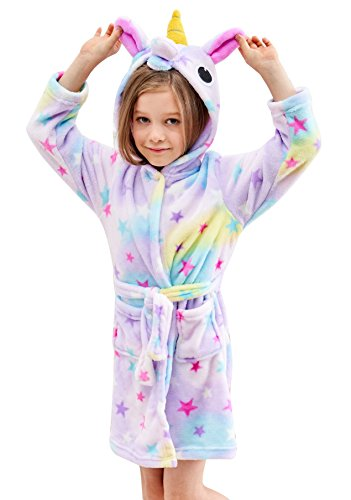 Soft Unicorn Hooded Bathrobe - Unicorn Gifts for Girls (5-6 Years, Starry Sleepwear) (Best Gifts Under 500)