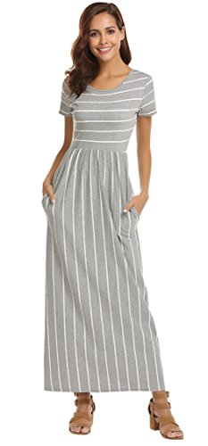 SimpleFun Women's Summer Short Sleeve Gray Striped Pockets Flowy Casual Long Maxi Dress (Grey Stripe,S)