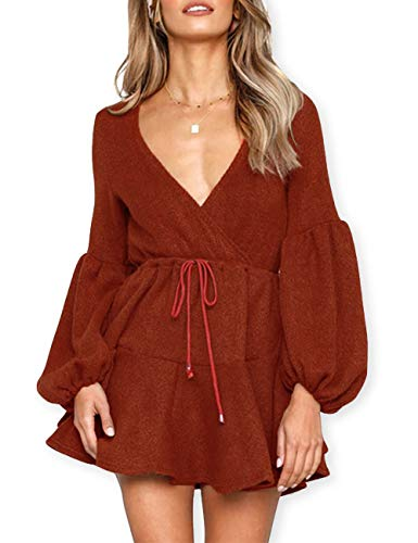 AOOKSMERY Women Deep V-Neck Puff Sleeve Knitted Sweater Mini Dresses with Tie Belt