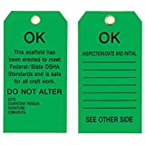 Brady 5 3/4'' X 3'' Black Metal Scaffolding Tag''THIS SCAFFOLD HAS BEEN ERECTED TO MEET FEDERAL/STATE OSHA STANDARDS AND IS SAFE FOR ALL CRAFT WORK. DO NOT ALTER DATE