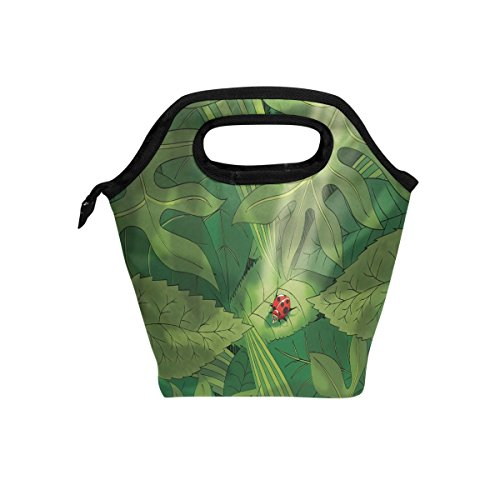 Saobao - Bolsa de almuerzo para el almuerzo, diseño de bosque con insectos, bolsa de almuerzo, bolsa de almuerzo, contenedor...