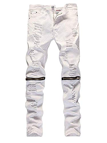 LOSIBUDSA Men's Skinny Slim Fit Straight Ripped Destroyed Distressed Zipper Stretch Knee Patch Denim Pants Jeans (White, 34)